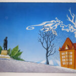1,35 x 1,80m, Theatermalfarben auf Leinwand, Fotovorlage - surreal verfremdet, Mischtechnik aus Malerei + Spritztechnik