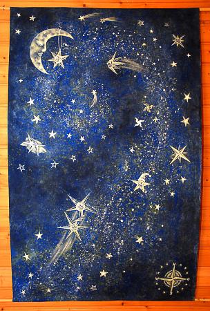 90 x 130cm, Acrylfarben auf Leinwand + Klebe-Leuchtsterne, spontan ohne Entwurf entstanden